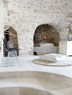 white on white patio and bedroom