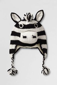 Kids' Hand Knit Animal Hat from Lands' End