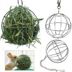 "Application: Bunny, Chinchillas, Guinea Pigs and other small Animals playing or Grass Frame Material: Stainless steel Diameter: 8.5cm / 3.35"" Color: Silver Quantity : 1 PC"