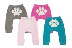 Our super soft organic cotton pants have an adorable paw on the backside that is simply irresistible!   Honest Paw Print Pants, collaboration with Sapling