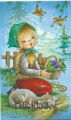 2040U - EDICIONES CYZ SERIE 398.28.D - 12,7X7,7 CM -DATA 1979 - ILUSTRA JOAQUÍN - Foto 1 Christmas Scenes, Christmas Art, Winter Christmas, Vintage Christmas, Christmas Decorations, Holly Hobbie, Cartoon Pics, Cute Images, Cute Illustration