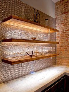 Woodcraft penny tile backsplash
