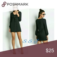 😍💕Host pick!!🎉🎉Black casual lace up mini dress This is such a cute black casual lace up mini dress.  Material is polyester. Dresses Mini