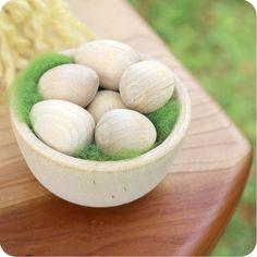 Miniature Wooden Bowl & Eggs