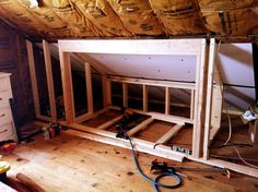 Built in Beds in Attic | the frame work for a built in bed | For the Home