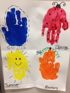 four seasons hand print craft for preschoolers