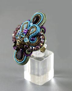 Massive Soutache Ring  / turquiose purple khaki by BeadsRainbow