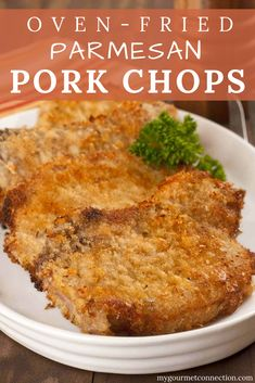 Coated with a lightly seasoned mix of breadcrumbs and Parmesan cheese these easy oven-fried pork chops turn out deliciously tender and juicy every time dinner dinnerrecipe porkchops parmesan mygourmetconnection Oven Pork Chops, Skillet Pork Chops, Juicy Pork Chops, Breaded Baked Pork Chops, Best Fried Pork Chops, Pork Chops Parmesan Crusted, Breaded Porkchops In Oven, Pork Chops In Crockpot, Gourmet