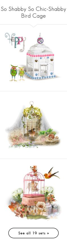 """""""So Shabby So Chic-Shabby Bird Cage"""" by jeannierose ❤ liked on Polyvore featuring art, artset and vintage"""