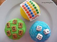 Game night cupcakes. Twister. Scrabble. Dice. Yahtzee. Bunco night.