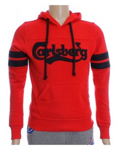Felpa Carlsberg rossa con cappuccio e doppia tasca marsupio ad altezza vita e logo sul davanti. 100% cotone Made in Italy solo da #ProdottiDiClasse