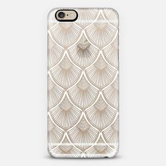 White Art Deco Lace on Crystal Transparent - Classic Snap Case