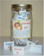 Looking for an easy, interesting holiday gift?  It's a journal in a jar!   Jumpstart journal writers with a quart-sized canning jar filled with folded strips of paper. Each one contains a single tho