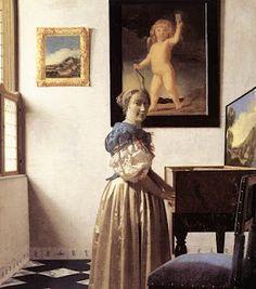 Johannes Vermeer - Lady standing at a virginal 1672