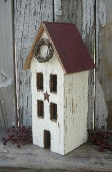 Window Primitive Saltbox House (mini wreath is at hobby lobby)