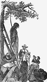 Execution of Ann Hibbins on Boston Common, June 19, 1656. Sketch by F.T. Merril, 1886