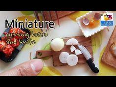 미니어쳐 도마와 칼 만들기 폴리머클레이 polymercaly cutting board knife miniature ミニチュアフード - YouTube