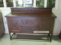 Antique English Tiger Oak Barley Twist Sideboard Carved Accents Photos and Information in AncientPoint Antique Sideboard, Sideboard Buffet, Antique Furniture, Twisted Oak, Antique Armoire, Art Nouveau Furniture, One Bedroom, Hope Chest, Carving