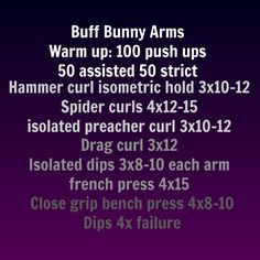 Buff bunny workout from youtube written out