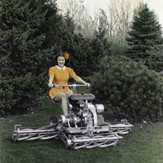 """Toro introduces the Professional, """"the power mower with wings,"""" that revolutionizes commercial mowing. The Professional is an instant hit with golf courses and other industrial users…More Vintage Tractors, Old Tractors, Vintage Farm, Reel Lawn Mower, Lawn Mower Tractor, Landscaping Equipment, Lawn Equipment, Lawn And Garden, Garden Tools"""
