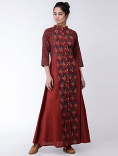 Maroon-Indigo Ajrakh-printed Cotton Dress Cotton Dress Indian, Cotton Gowns, Cotton Dresses Online, Cotton Long Dress, Indian Dresses, Western Dresses, Indian Maternity Wear, Kalamkari Tops, Salwar Designs