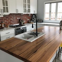 1,200mm deep recycled Messmate blend timber island kitchen bench top. Timber Revival, recycled timber specialists Melbourne.