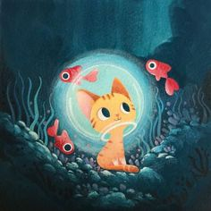 A lovely illustration featuring a ginger kitten surrounded by fishes. Fish Illustration, Illustrations, Character Illustration, Fish Drawings, Animal Drawings, Arte Sketchbook, Fish Art, Cat Drawing, Cat Art