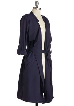 Trench Dressing Coat. Spice up your day by layering your look with this navy-blue trench coat! #blue #modcloth
