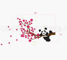 Panda Decal Panda and Cherry Blossom Branch with Butterflies