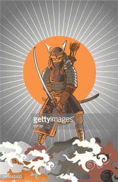 Vector Art : japanese samurai warrior sketch