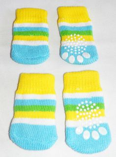 Green and Blue non-slip dog socks