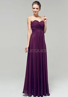 Empire Ruched A line Chiffon Sweetheart Evening Gown - Voguequeen.com