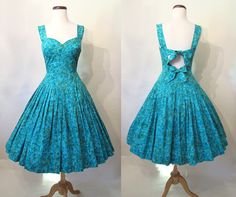 Darling 1950's Cotton Floral Print Party Sun Dress with a Peek-a-boo Back Rockabilly VLV Pinup Drop Waist Size-Small