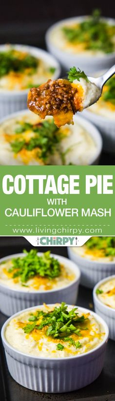 Individual Cottage Pie with Cauliflower Mash Low-Carb Cottage Pie with Cauliflower Mash - hearty ground beef topped with fluffy cauliflower mash and melted cheese. Dinner for a cold night. Banting Recipes, Paleo Recipes, Low Carb Recipes, Cooking Recipes, Free Recipes, Paleo Food, Protein Recipes, Keto Foods, Dinner Recipes