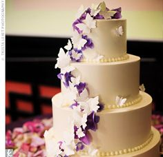 Purple Butterfly wedding cake by Jamaica's Cakes in West Los Angeles Purple Butterfly Cake, Butterfly Wedding Cake, Purple Wedding Cakes, Butterfly Cakes, Amazing Wedding Cakes, Butterfly Birthday, White Buttercream, Buttercream Wedding Cake, Jamaica Cake