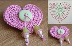 pretty crochet heart by Stoeps; i like the miniature flower budsPatrones Crochet Corazones San Valentin - Crochet and KnitCrochet Heart Motif - Free Crochet Diagram - Then just add your…Discover thousands of images about pretty crochet heartDelicad Easy Crochet Patterns, Crochet Motif, Crochet Doilies, Crochet Flowers, Crochet Hooks, Knitting Patterns, Crochet Ideas, Crochet Keychain, Crochet Earrings