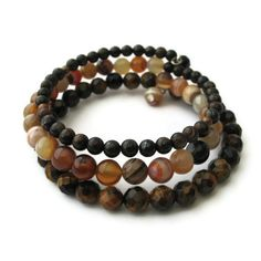 Chocolate Brown Gemstone Bracelet Tigers Eye and by adiencrafts, $25.00