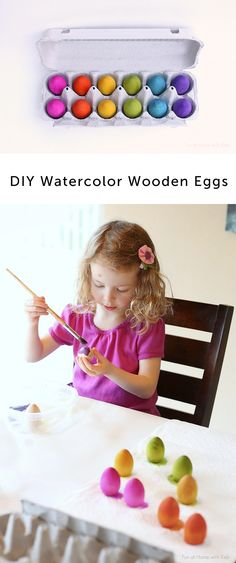 Such a great Easter project to do with the kids or to slip into their baskets - these vividly colored wooden toys will well outlast the holiday!: