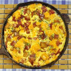 Bacon Potato and Cheddar Frittata - a terrific Mothers Day Brunch recipe or a quick, delicious workday dinner any time of the year. Leftover ham, grilled sausage, roast potatoes or plain pasta and a whole host of different cheeses are often turned into a quick frittata meal at our house. The possibilities are endless.