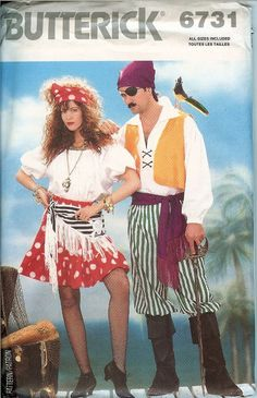 Butterick 6731 Pirate Swashbuckler Gypsy Skull Costume Pattern UNCUT FF Adults…