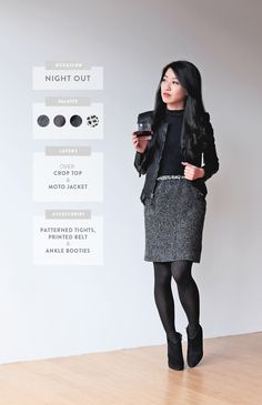 I would wear a lightweight 'leather' jacket all day - my office is chilly. Love the 'long' look of this outfit