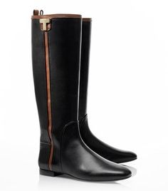Love the black + cognac combo! Erica Flat Riding Boot by Tory Burch. #eBayCollection #FindItFollowIt