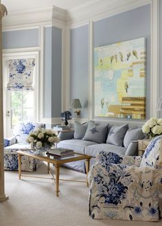uniqueshomedesign: Tobi Fairley charisma design Love the chair fabric and light denim blue sofa fabric