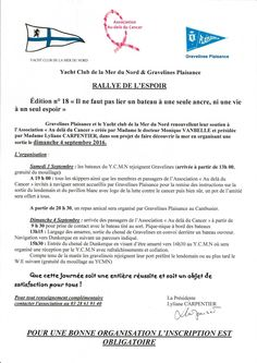 18e Rallye de l'Espoir le 03 et 04 septembre 2016 «Il ne faut pas lier un bateau à une seule ancre,ni une vie à un seul espoir» Pour une bonne…