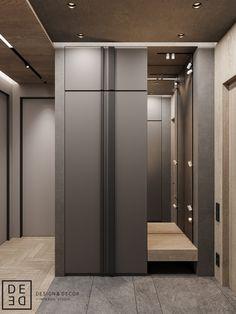 DE&DE/Gorgeous minimalism with wooden accents on Behance Wardrobe Door Designs, Wardrobe Design Bedroom, Bathroom Interior Design, Modern Interior, Latest Kitchen Trends, Home Entrance Decor, Deco Design, Minimalism, Furniture Design