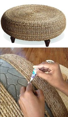Footrest - recycled from old car tyre (http://www.thatwasawhat.blogspot.hu/2012/08/another-tire-saved-from-landfill.html)