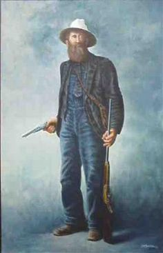 """DEVIL ANSE HATFIELD""""""""Devil Anse"""" of the famous Hatfield-McCoy Feud between the West Virginia and Kentucky families with a """"close-up"""" detail on right.  Acrylic on Canvas 36"""" x 24"""".  Note the Tie with the Bib Overalls!"""