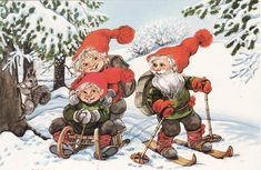 A gnomes winter fun and games - Marjaliisa Pitkäranta Vintage Christmas Cards, Christmas Greeting Cards, Christmas Greetings, Christmas Elf, Christmas Photos, David The Gnome, Elves And Fairies, Historical Art, Old Postcards