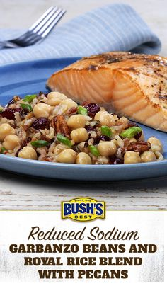 Bush's® Reduced Sodium Garbanzo Beans and Royal Rice Blend with Pecans: Planning dinner? This simple side dish, made with Bush's® Reduced Sodium Garbanzo Beans, pairs well with chicken, fish, pork or beef.