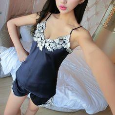 Hot Offer Sexy Ladies Silk Satin Pajama Set Lace Pyjama Set Sleeveless Pijama Set V-neck Sleepwear Home Wear Sleep Wear  .....More Detail Please Click Link